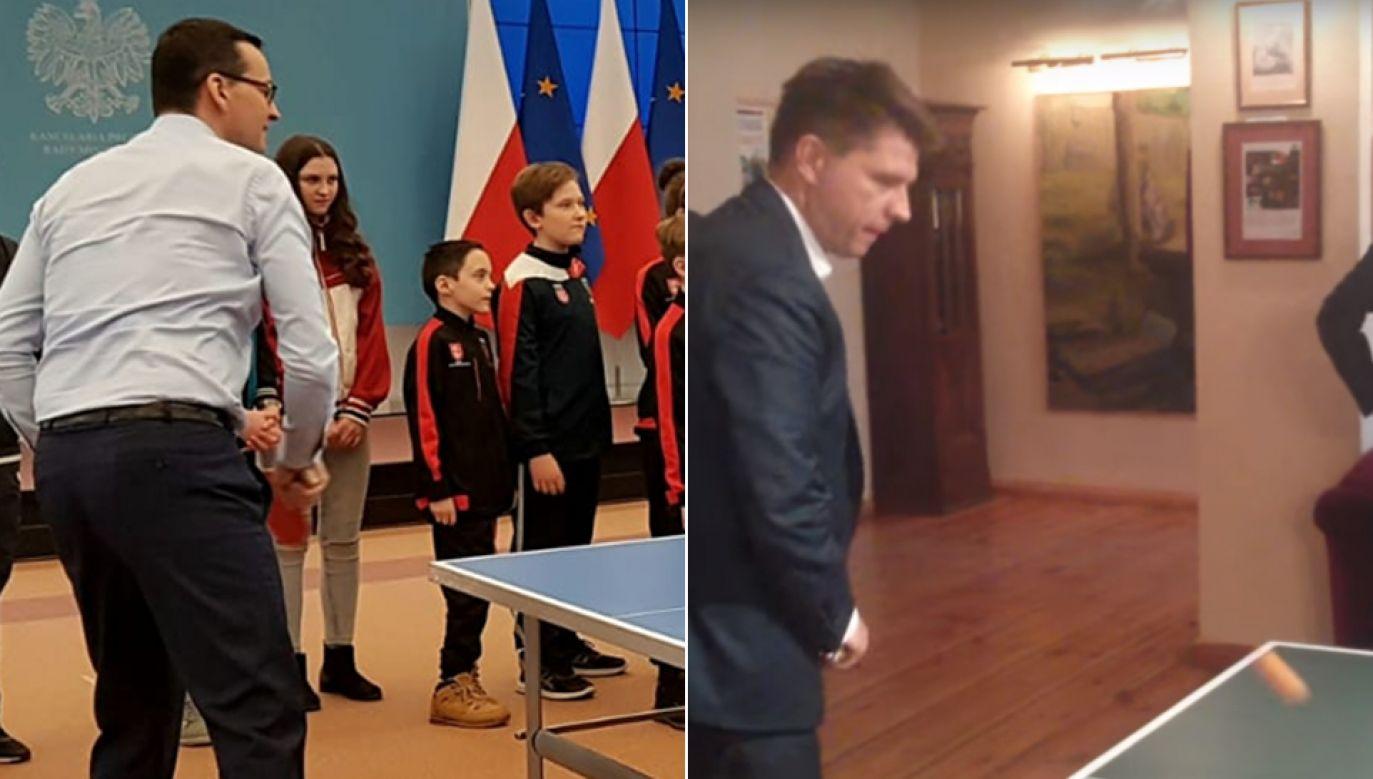Premier Mateusz Morawiecki i Ryszard Petru w rozgrywkach ping ponga (fot. Twitter/KPRM/na Temat)
