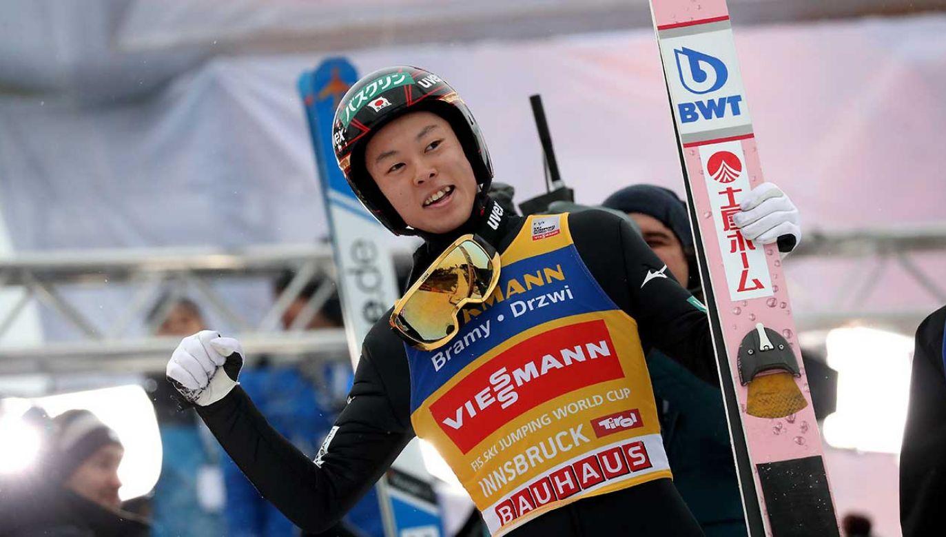 Japończyk ma szansę zostać trzecim zawodnikiem, który wygra wszystkie konkursy Turnieju Czterech Skoczni (fot. PAP/Grzegorz Momot)