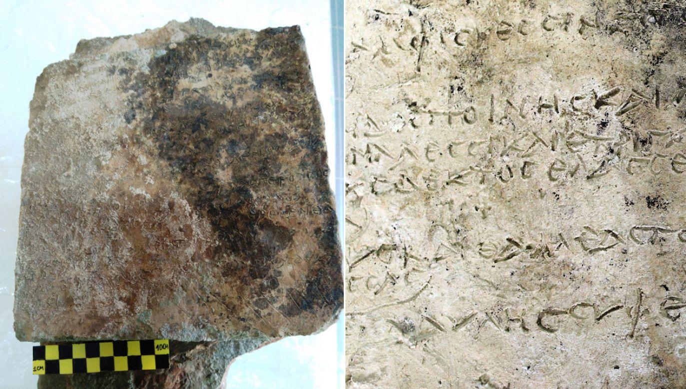 Naukowcy szacują, że zabytek pochodzi sprzed III wieku p.n.e. (fot. PAP/EPA/GREEK MINISTRY OF CULTURE HANDOUT)