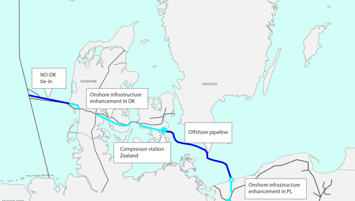 Baltic Pipe will allow for the transport of gas from Norway to the Danish and Polish markets, as well as to the neighbouring countries. Photo: gaz-system.pl
