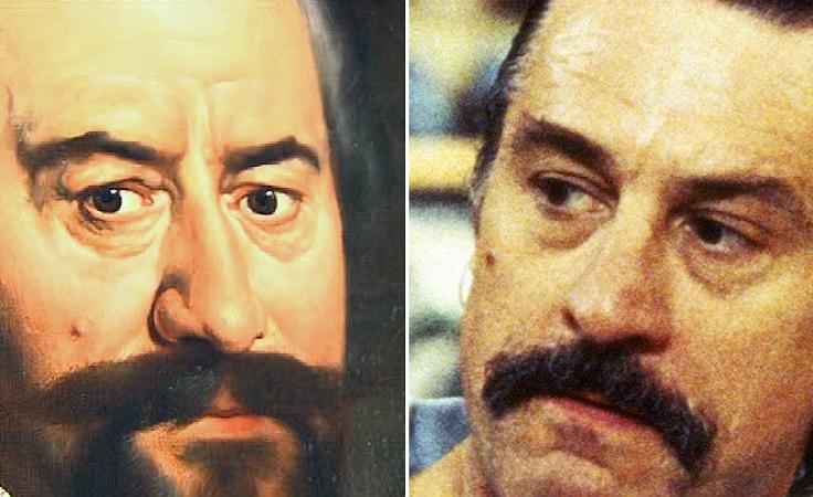 """Po lewej: portret z muzeum; po prawej: Robert de Niro w filmie """"Jackie Brown"""" (fot. TVP3 Wrocław; arch. TVP)"""