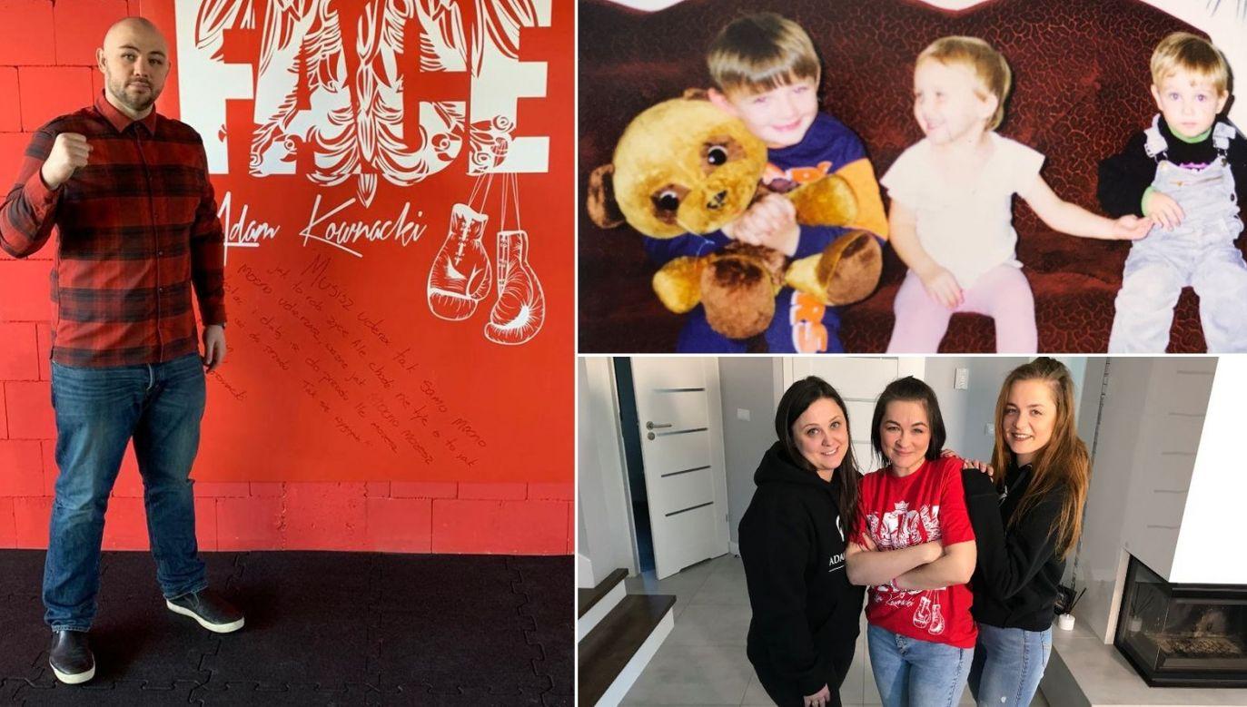 Adam Kownacki teraz, przed wyjazdem do USA oraz trzy kuzynki – Paulina, Ewelina i Patrycja (fot. archiwum rodzinne/TVP)