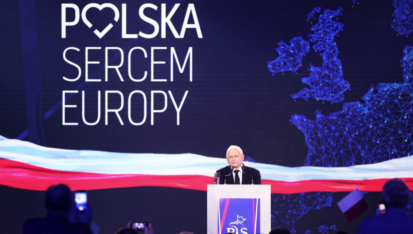 Jak wskazał prezes PiS, wybory do PE mają wielkie znaczenie dla Polski i naszej przyszłości (fot. PAP/Łukasz Gągulski)