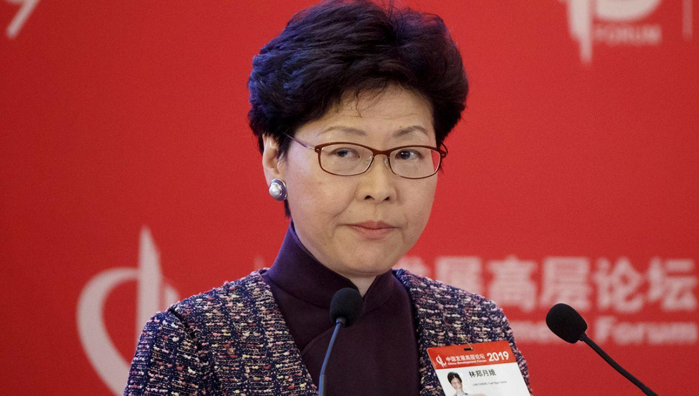 Szefowa administracji Hongkongu Carrie Lam wezwała p.o. niemieckiego konsula w regionie (fot. REUTERS/Thomas Peter)