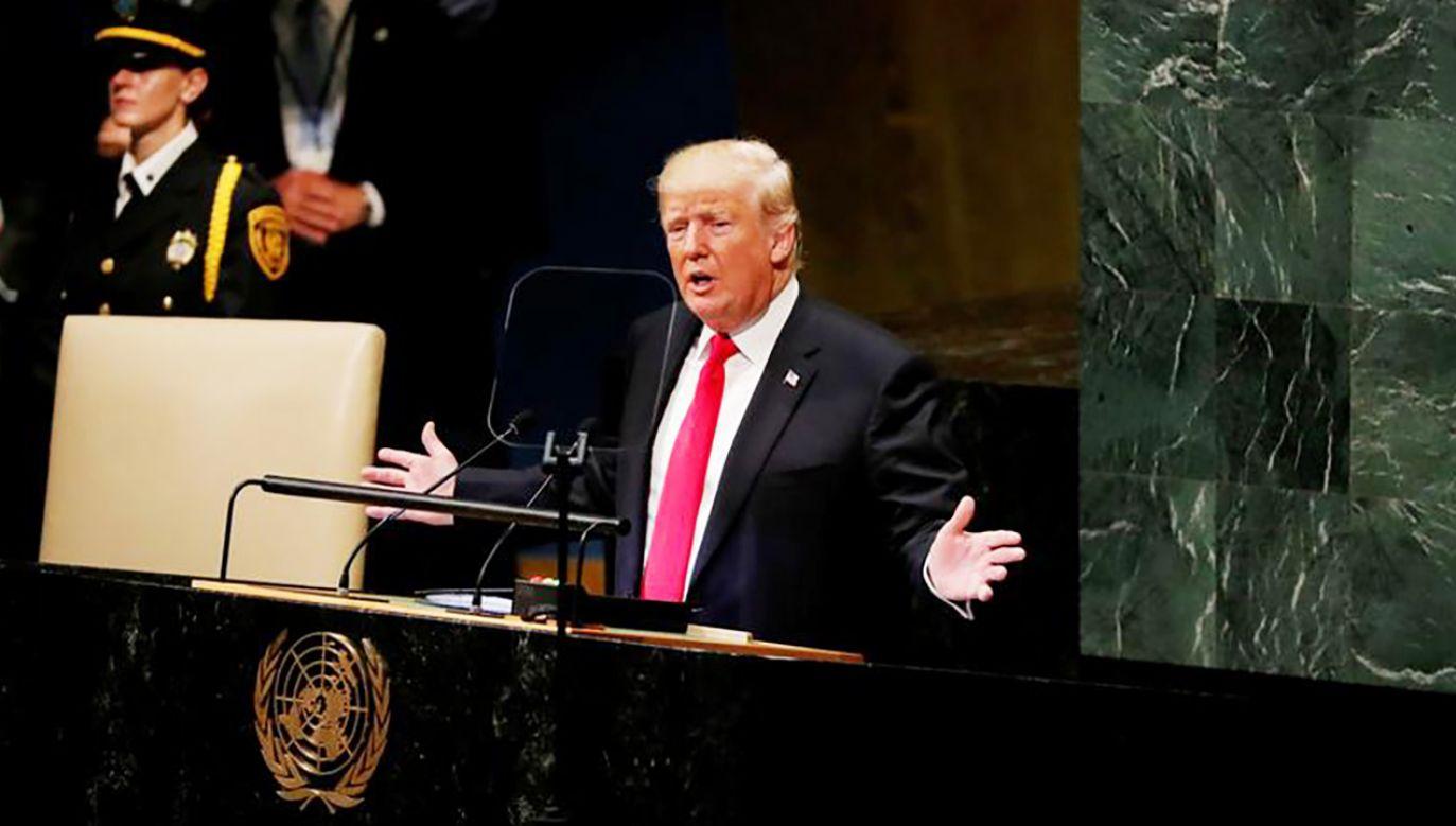 Donald Trump wystąpił podczas sesji Zgromadzenia Ogólnego ONZ (fot. REUTERS/Carlos Barria)