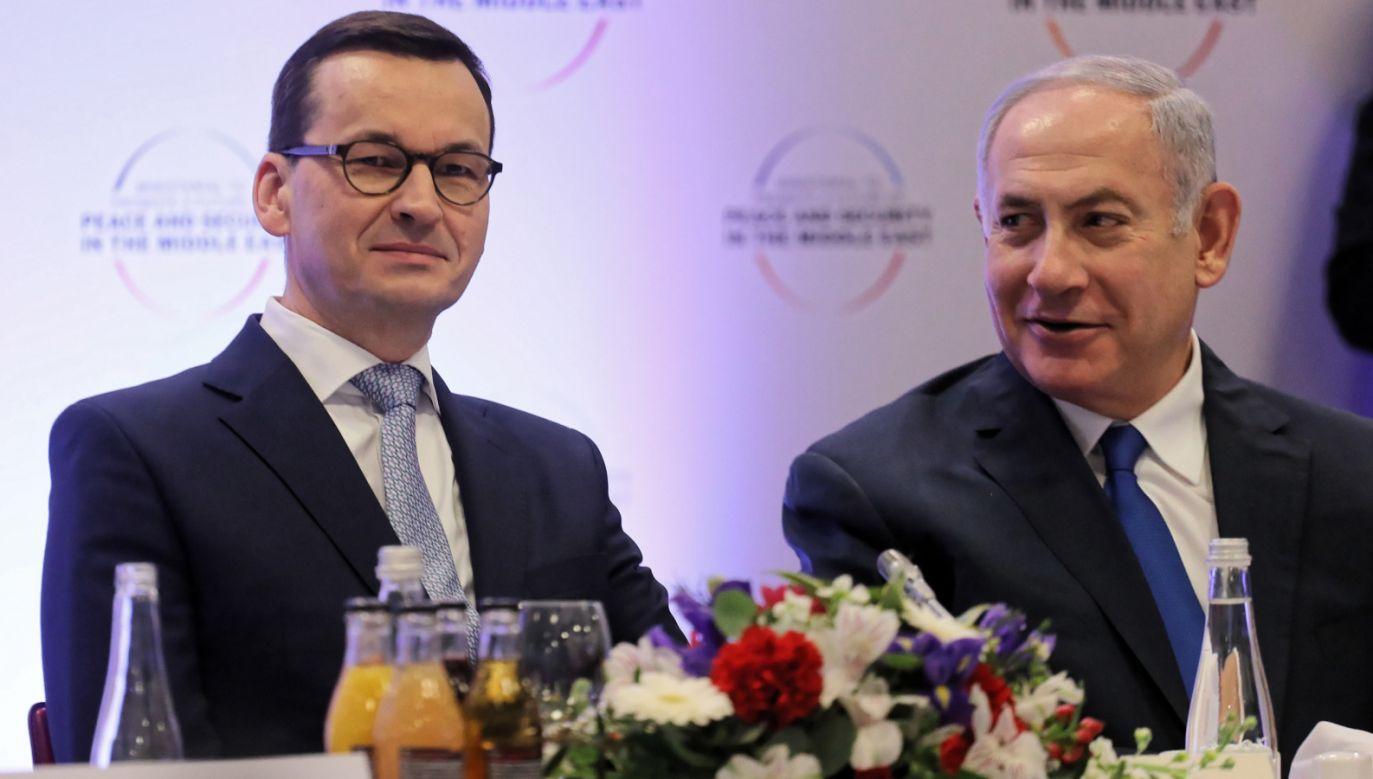 Premier Morawiecki rozmawiał z premierem Netanjahu (P) w Warszawie podczas spotkania ministerialnego poświęconego sytuacji na Bliskim Wschodzie iskim Wschodzie (fot. PAP/Paweł Supernak)