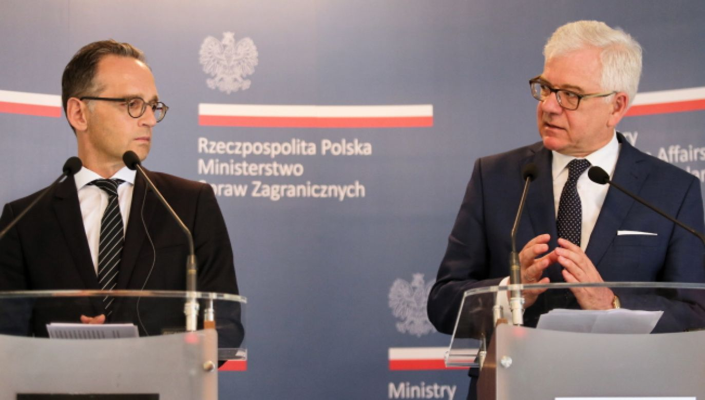 Poland's Foreign Minister Jacek Czaputowicz (R) with his German counterpart Heiko Maas (L) during a joint news conference. Photo: PAP/Andrzej Grygiel