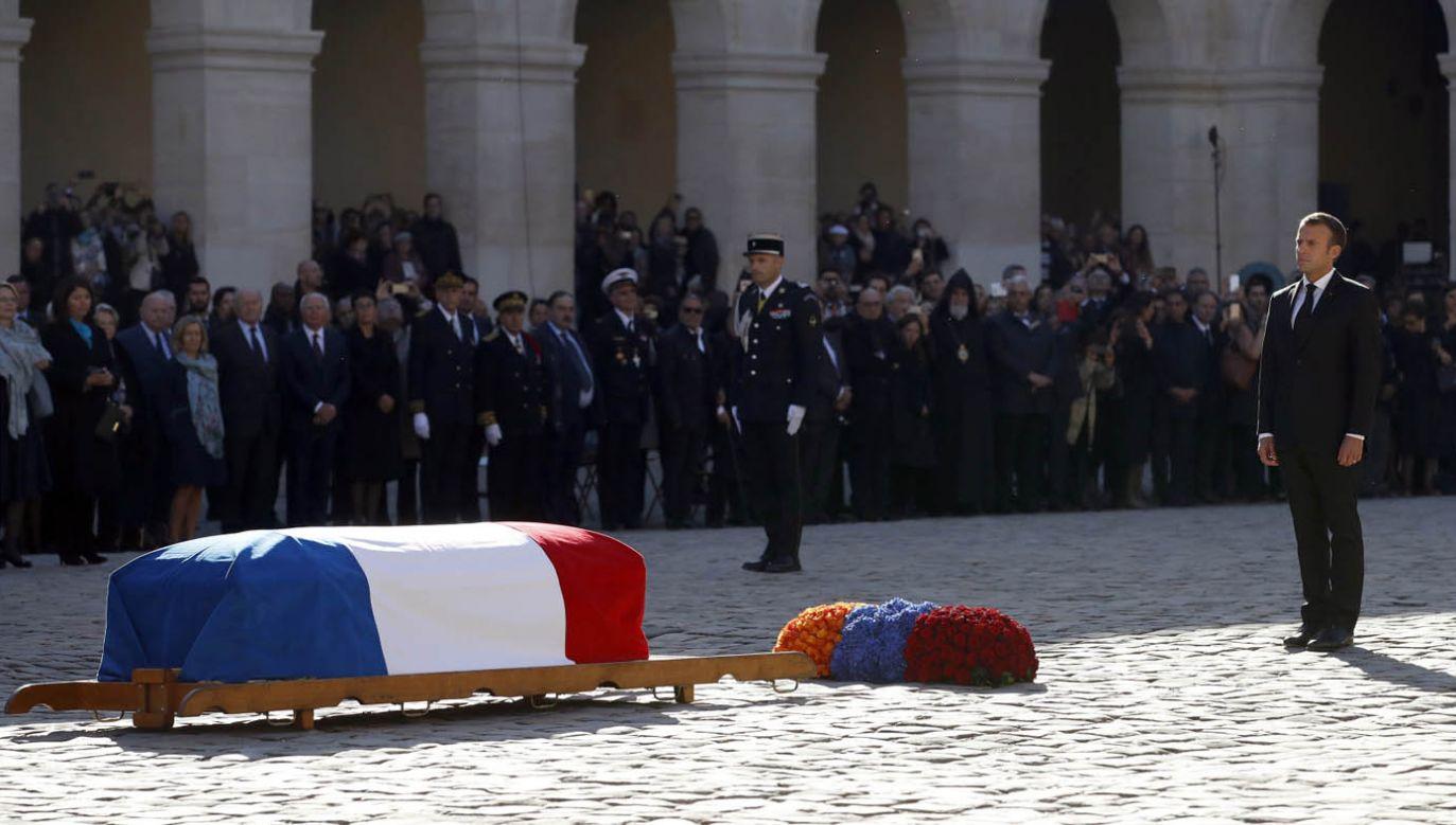 Uroczystości pożegnalne Charles'a Aznavoura miały charakter oficjalny (fot. PAP/EPA/CHRISTOPHE ENA
