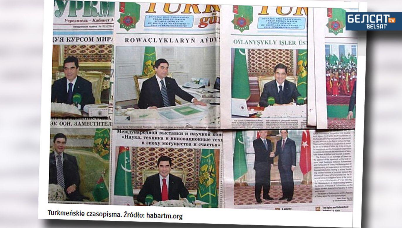 Turkmeńskie gazety publikują ogromną ilośc zdjęć prezydenta Gurbanguły Berdymuchamedowa (fot. TV Biełsat)