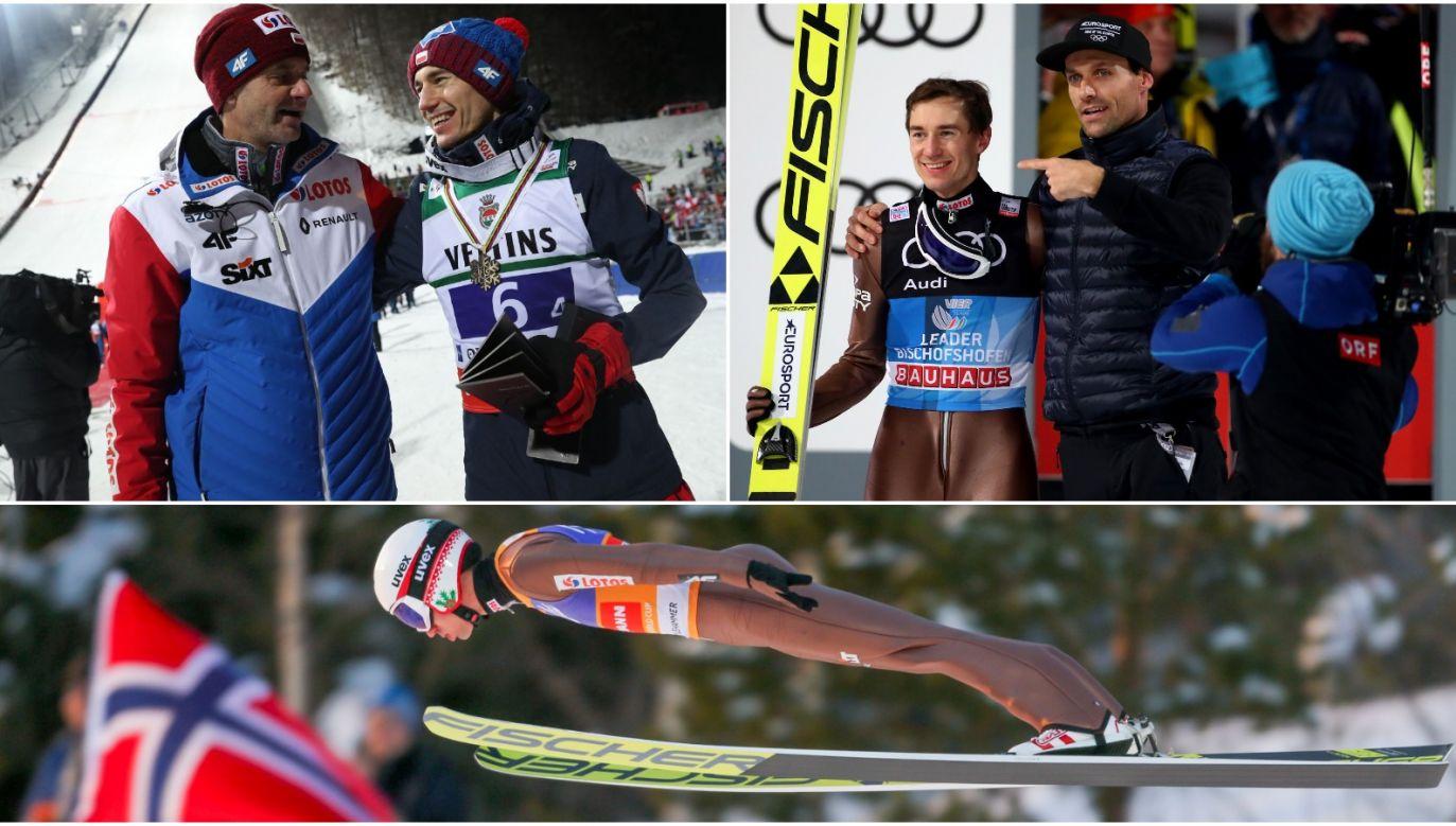 Stefan Horngacher i Kamil Stoch (L), Kamil Stoch i Sven Hannawald (P) (fot. PAP/Getty/TVP)