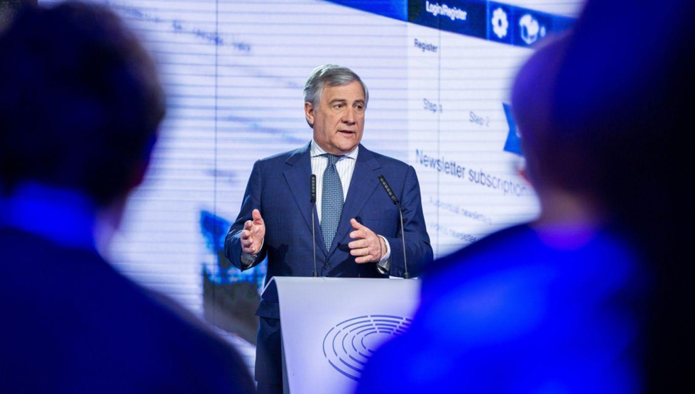 Przewodniczący Parlamentu Europejskiego Antonio Tajani (fot. PAP/EPA/STEPHANIE LECOCQ)