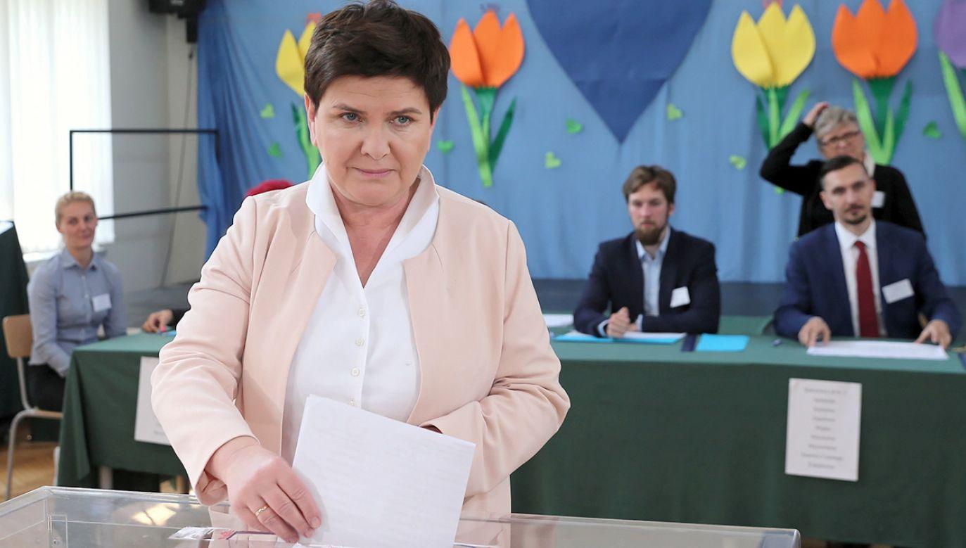 W okręgu małopolsko-świętokrzyskim Beatę Szydło poparł niemal co trzeci głosujący (fot. PAP/Andrzej Grygiel)