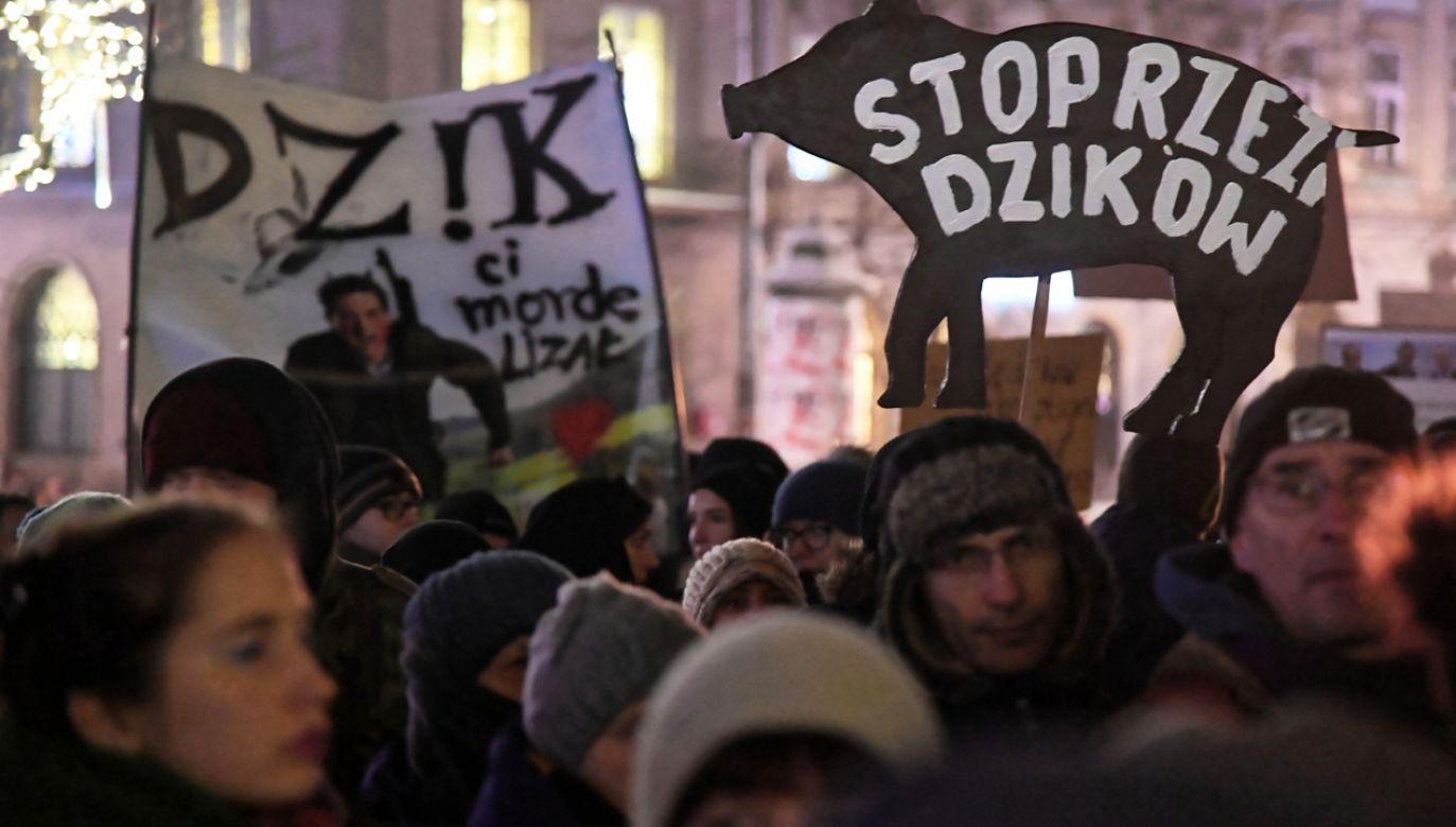 Demonstracja w Krakowie przeciwko planowanemu masowemu odstrzałowi dzików (fot. PAP/Jacek Bednarczyk)