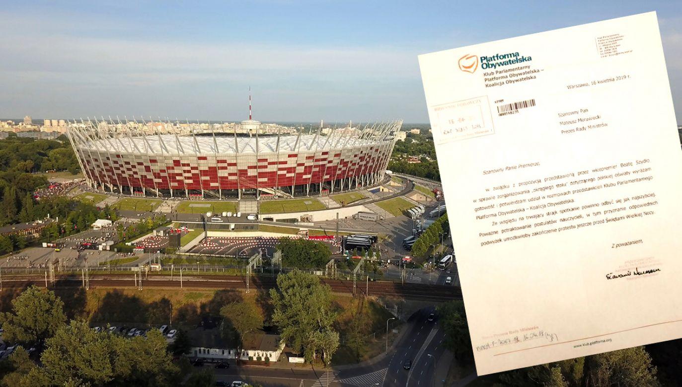W południe na Stadionie PGE Narodowym ma się odbyć okrągły stół w sprawie oświaty (fot.Shutterstock/winkiel82/TT/Michał Dworczyk)