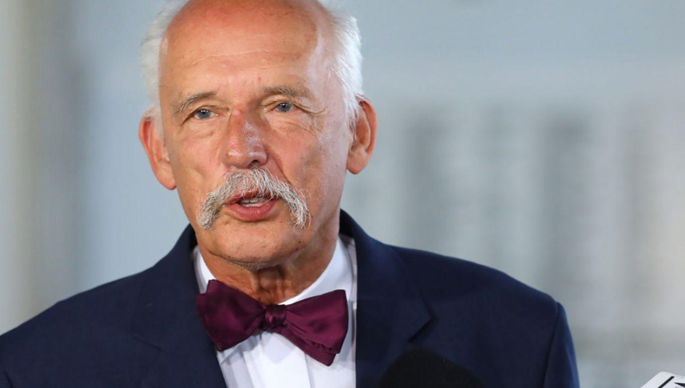 Janusz Korwin-Mikke zapowiedział start w wyborach na prezydenta stolicy (fot. PAP/Rafał Guz)